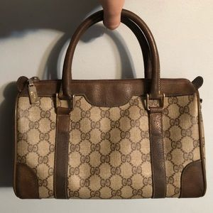 Gucci Small GG Canvas Boston Bag with Leather Trim
